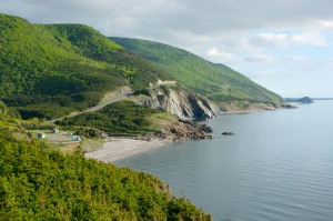 Panaormic views of the Cabot Trail in Cape Breton Highlands National Park from one of the many lookoffs between the communities of Cheticamp and Pleasant Bay